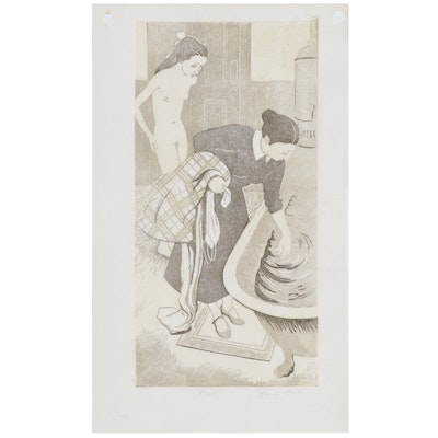 Frank Martin Woodcut of Female Figures at Bath