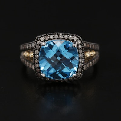 Sterling Silver and 10K Yellow Gold Blue Topaz and Diamond Ring