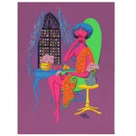 Franklin Folger Fluorescent Gouache Painting of Female Figure, 1988