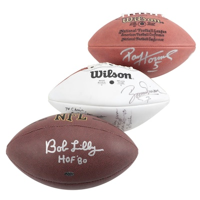 Boomer Esiason, Bob Lilly and Paul Hornung Signed Footballs   COAs