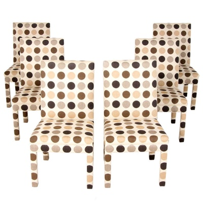 Set of Six Parson Style Polka Dot Upholstered Dining Chairs, Late 20th Century