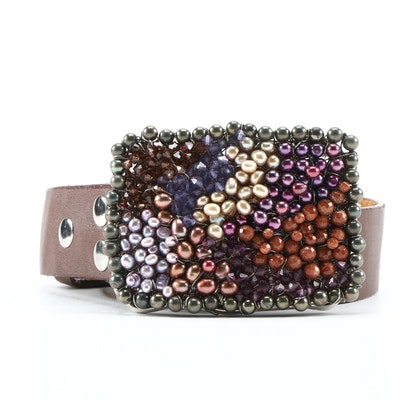 Cultured Pearls, Goldstone Glass, Glass Bead Encrusted Buckle and Brown Belt