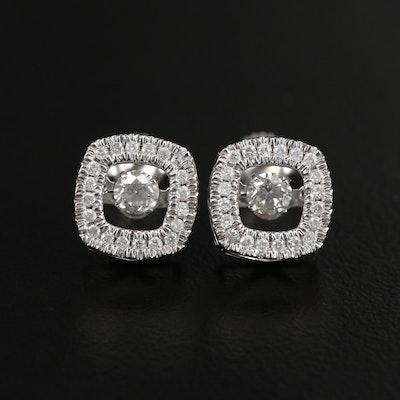 14K White Gold Floating Diamond Stud Earrings