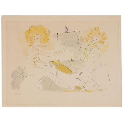 Marcel Vertes Color Lithograph of Artist with Model