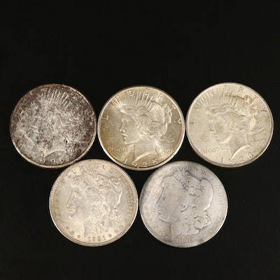 Two Morgan and Three Peace Silver Dollars