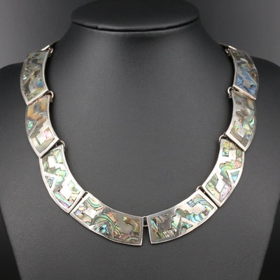 Taxco Mexico Sterling Silver Abalone Panel Necklace
