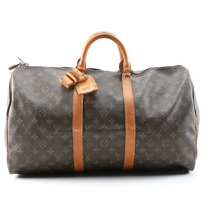 Louis Vuitton Keepall 50 Duffel in Monogram and Vachetta Leather, Vintage