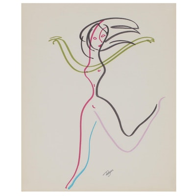 Franklin Folger Ink Drawing of Abstract Female Figure