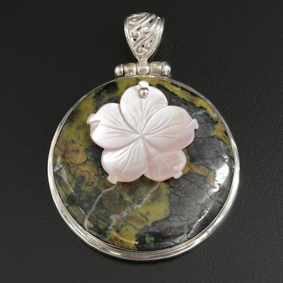 Sterling Silver Serpentine and Mother of Pearl Pendant