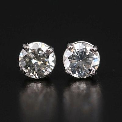 Platinum 1.00 CTW Diamond Solitaire Stud Earrings