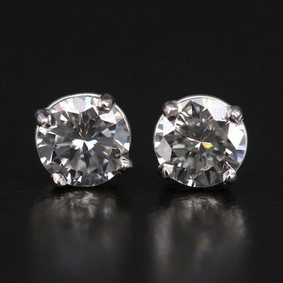 Platinum 1.00 CTW Diamond Stud Earrings