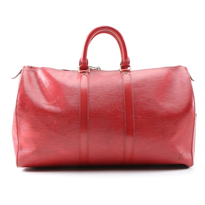 Louis Vuitton Keepall Duffel 45 in Red Epi Leather, Vintage