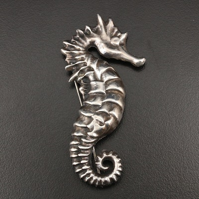 Sterling Silver Seahorse Brooch