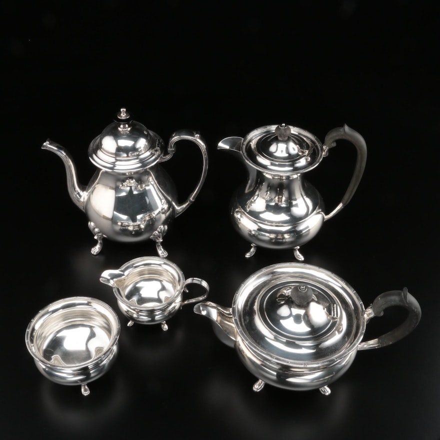 English Atkin Brothers Silver Plate Coffee Service and Crescent Coffee Pot