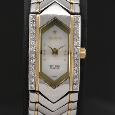 Croton Equator 18k Gold and Stainless Steel With Diamond Bezel Quartz Wristwatch