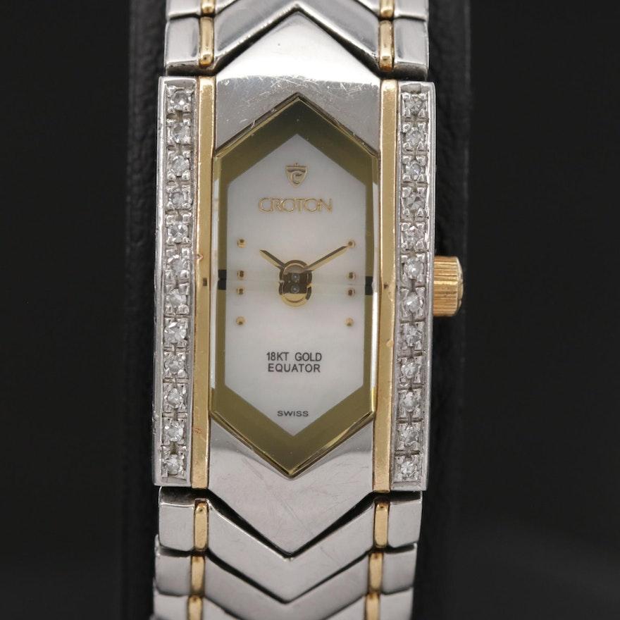 Croton Equator 18k Gold and Stainless Steel With Diamond Bezel Quartz Wristwatch