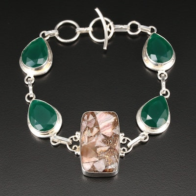 Sterling Silver Rhodochrosite and Green Chalcedony Bracelet