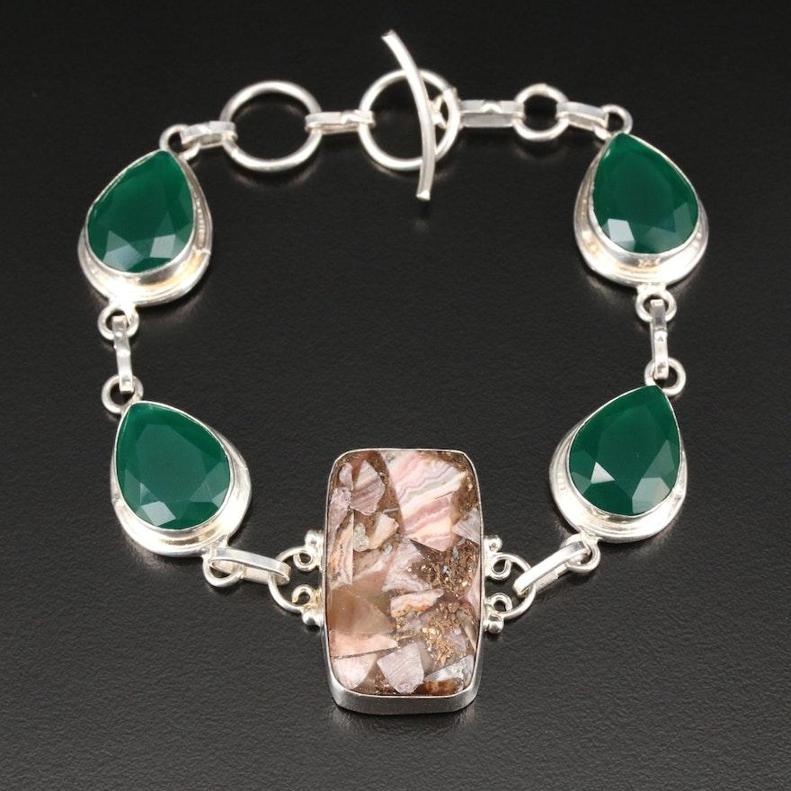 Sterling Silver Rhodochrosite and Green Chalcedony Bracelet