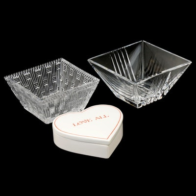 "Tiffany & Co. Crystal Nut Bowls and ""Love All"" Heart Shaped Trinket Box"