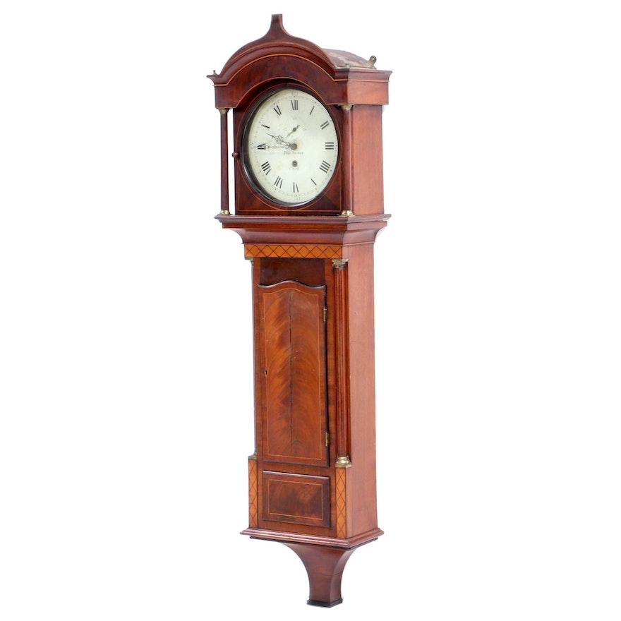 Thomas Austen (Irish) Mahogany and Satinwood Wall Clock, circa 1840