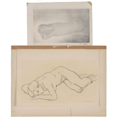 Benjamin Miller Graphite Drawing and Kenneth Ozier Lithograph of Reclining Nudes