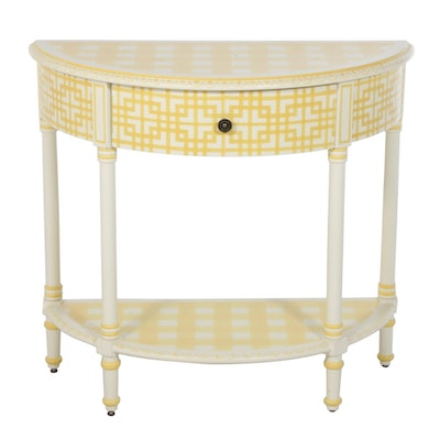 Yellow Checked Paint-Decorated Demilune Hall Table