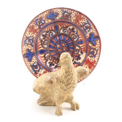 Hand-Painted Folk Art Ceramic Plate and Wooden Eagle Carving