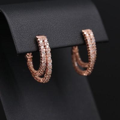 10K Rose Gold 1.23 CTW Diamond Inside-Out Hoop Earrings