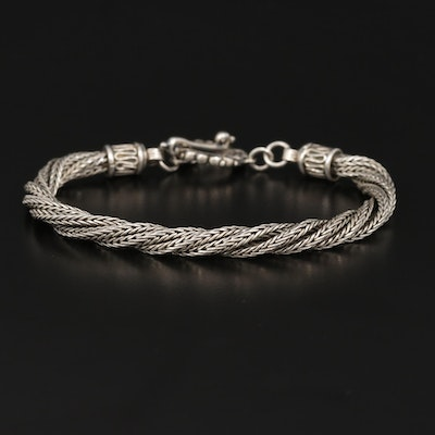 Sterling Silver Twisted Foxtail Chain Bracelet