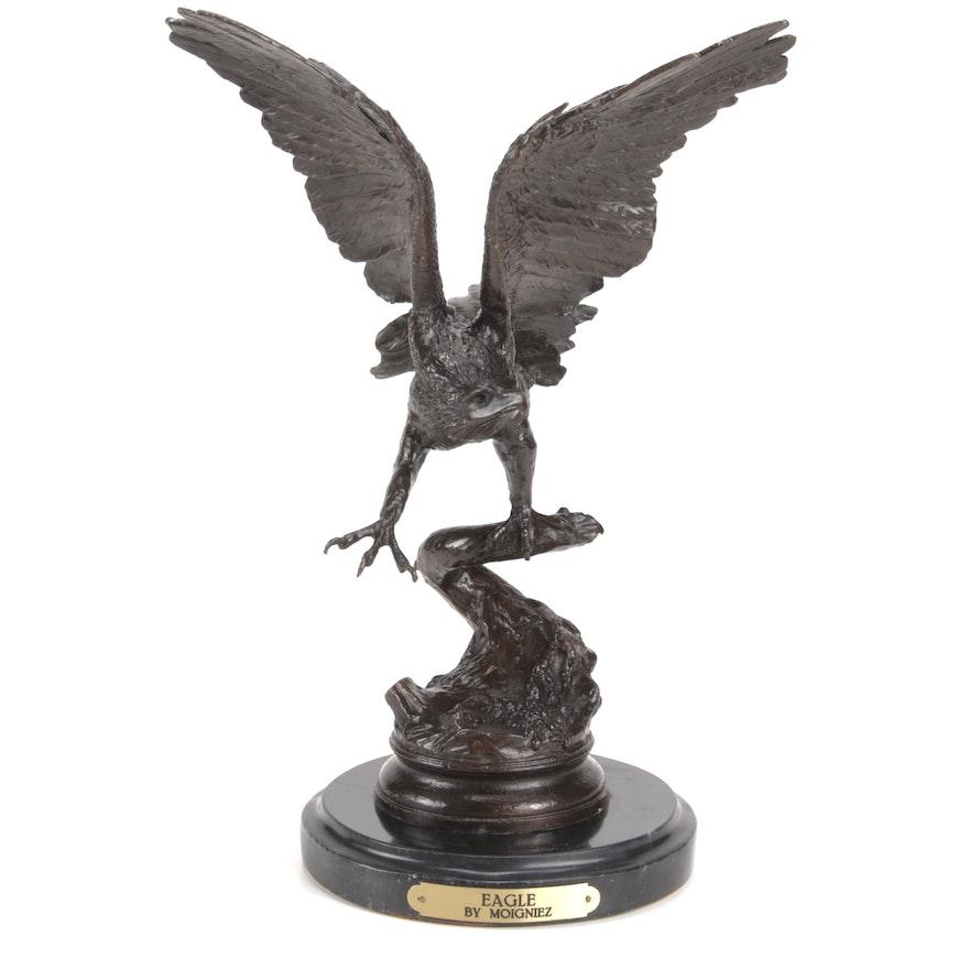 "Bronze Sculpture After Jules Moigniez ""Eagle"""