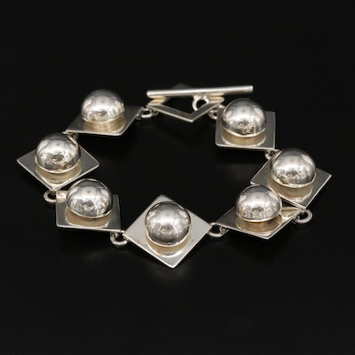 Mexican Sterling Silver Geometric Toggle Bracelet