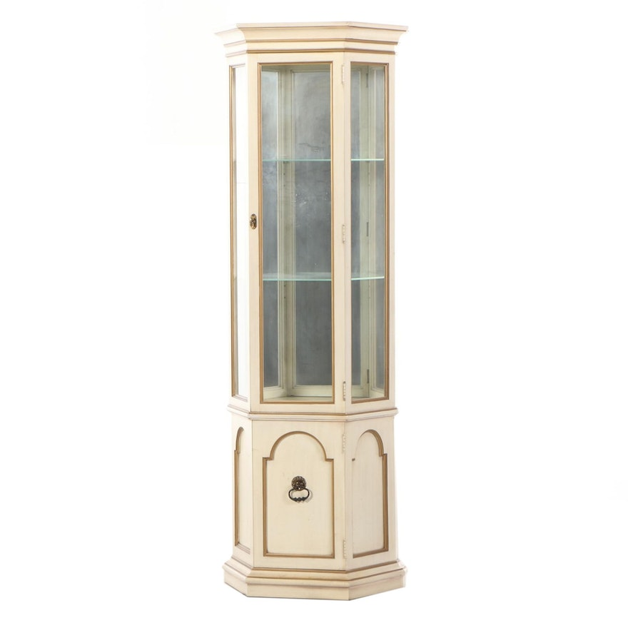 American of Chicago Cream-Painted and Parcel-Gilt Display Cabinet