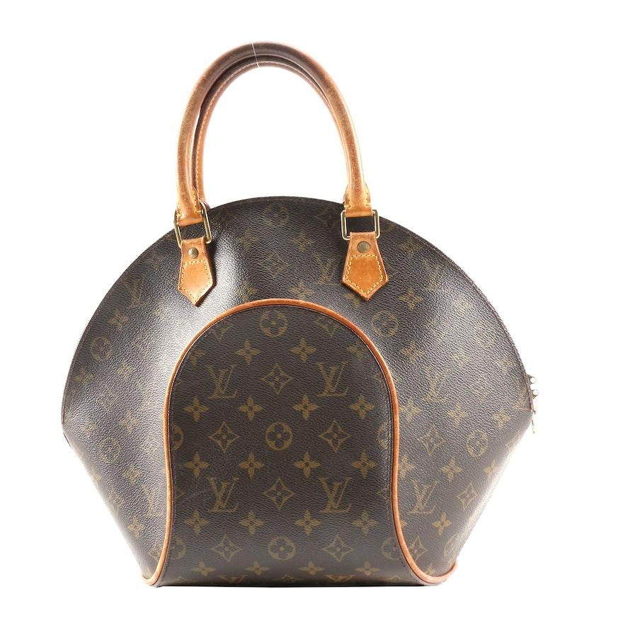 Louis Vuitton Ellipse MM Handbag in Monogram Canvas and Leather