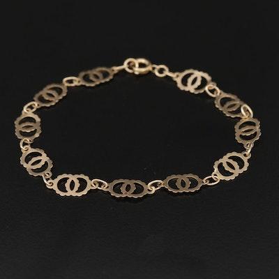 9K Yellow Gold Interlocking Circle Link Bracelet