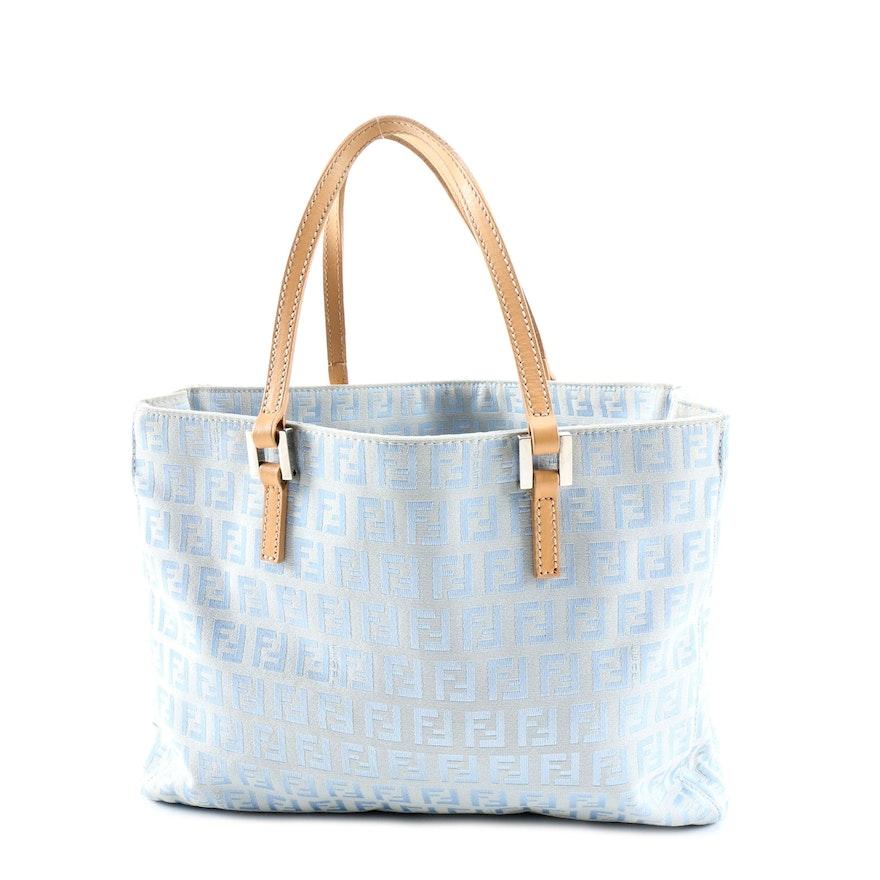 Fendi Zucchino Canvas and Leather Demi Tote Handbag
