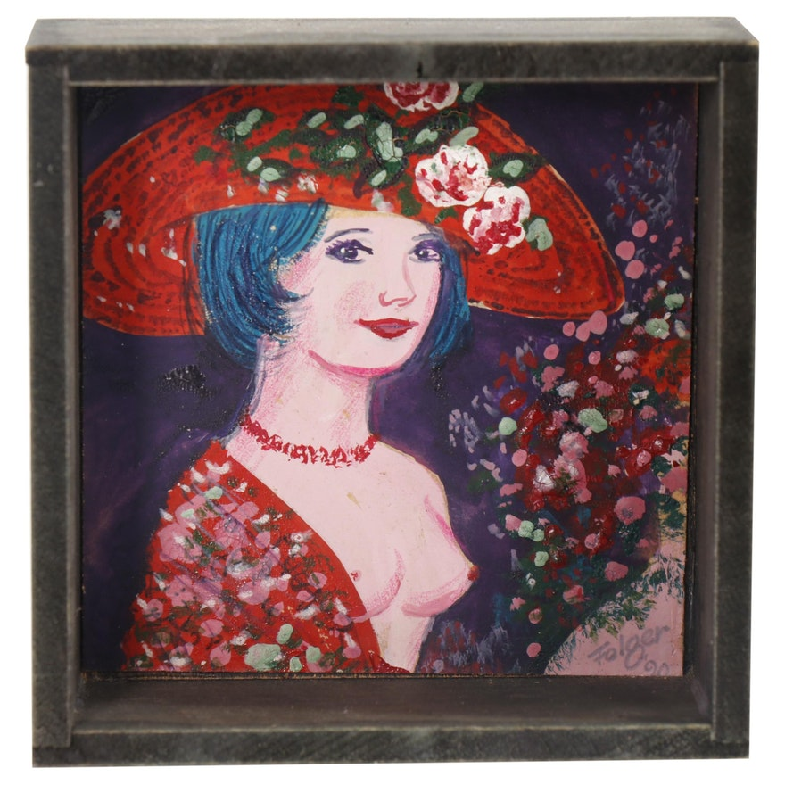 Franklin Folger Mixed Media Painting of Female Figure with Hat
