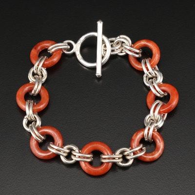 Sterling Silver Double Link Jadeite Bracelet