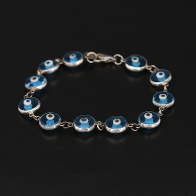 Sterling Silver Glass Evil Eye Bracelet