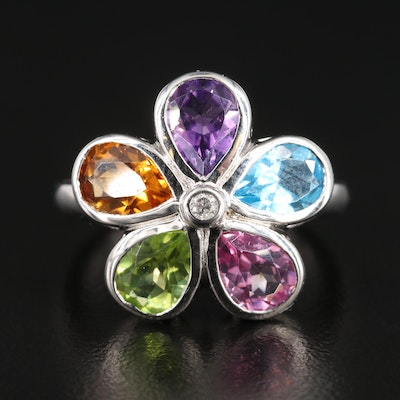 Sterling Silver Mixed Gemstone Flower Motif Ring with Diamond Accent