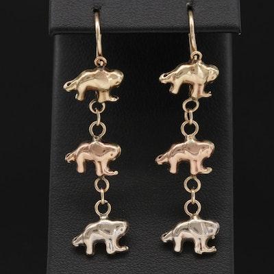 14K Gold Elephant Dangle Earrings