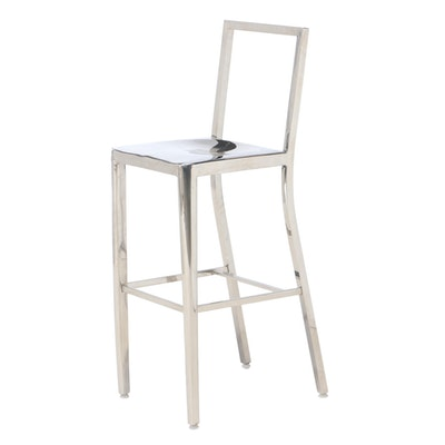 Contemporary Modern Wesnic Polished Aluminum Steel Counter Height Chair