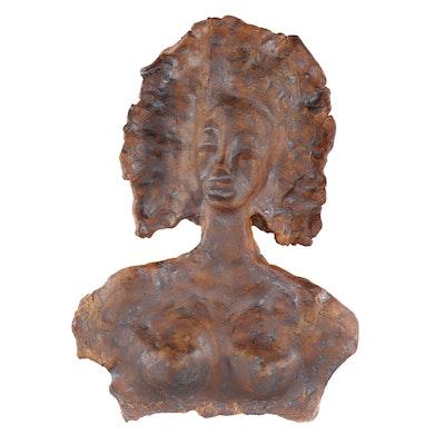 Female Figure Glazed Ceramic Relief, Late 20th Century