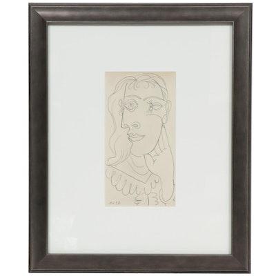 "Halftone After Pablo Picasso Portrait Sketch for ""Cahiers d'Art,"" 1938"