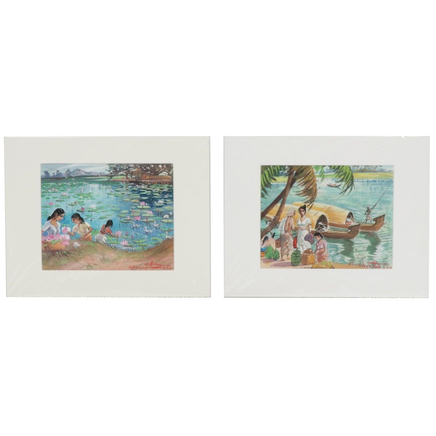 J. Gnanayutham River Scene Watercolor and Gouache Paintings