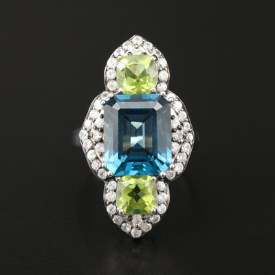 Sterling Silver Topaz, Peridot, and Zircon Ring
