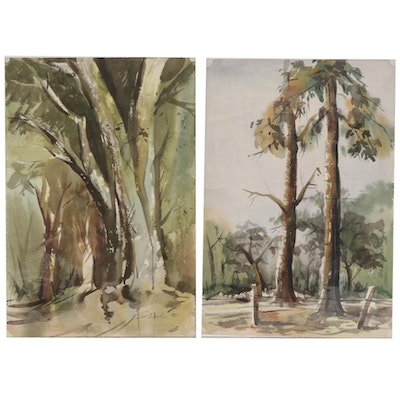 Sheel Forest Landscape Watercolor Paintings, 1988