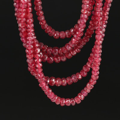 Multi-Strand Beaded Corundum Necklace with 14K Yellow Gold Closure