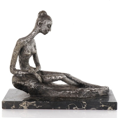 Reclining Female Figure Sculpture, Late 20th Century