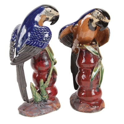Chinese Majolica Parrot Figurines
