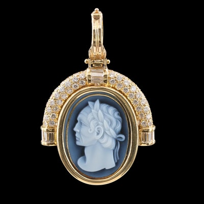 18K Yellow Gold Carved Onyx and 2.40 CTW Diamond Cameo Enhancer Pendant